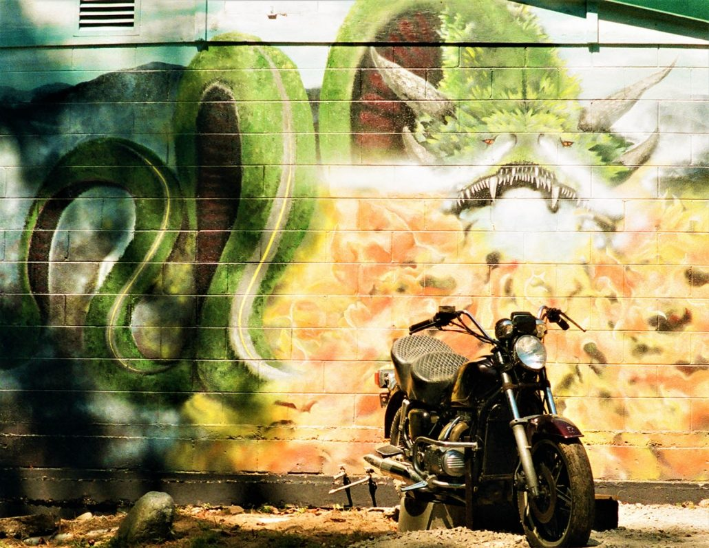 Vintage Motorcycle in front of a wall