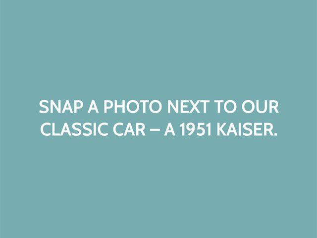Snap a photo next to our classic car – a 1951 Kaiser.